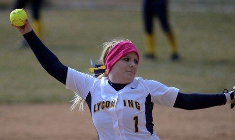 Senior Holly Lansberry threw Lycoming's first 7-inning perfecto last week (Photo courtesy Lycoming Athletic Dept.)