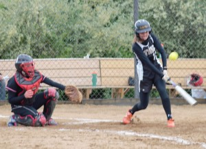 Lady Tide pitcher Tierra Shope went 3-for-4 at the plate including this double to right as Curwensville ousted Moniteau 12-0 on Friday.