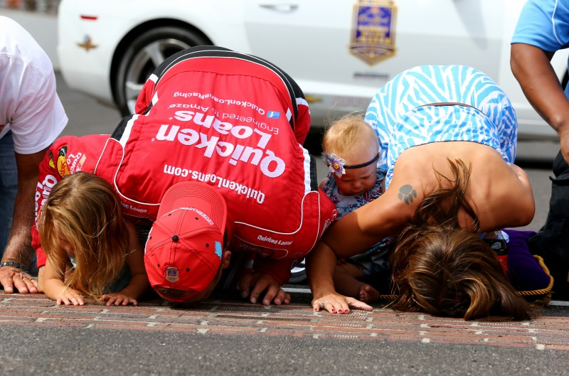 As weird as it seems, the sweetest kiss at Indianapolis isn't one planted on the trophy, but the one on the bricks.