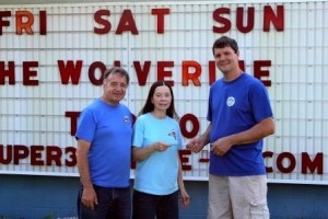 Pictured, from left to right, are Bill and Barb Frankhouser, owners of the Super 322 Drive-in, and Brad Davis, owner of Mabel's Pizza. (Provided photo)