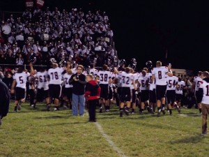 The Clearfield Bison couldn't help but celebrate after their victory over the Central Dragons.