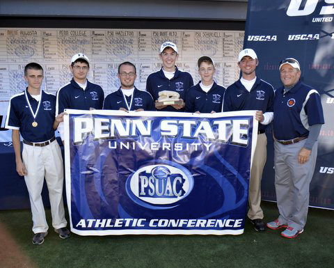 FIRST-YEAR CHAMPIONS --- John Gaylor, left, of Clearfield was medalist both days for the Penn State DuBois golf team that won the 2013 Pennsylvania State University Athletic Conference crown last week. Other Lions are Vinnie Montanari, Derek Buganza, Tighe Truman, Owen Braun and John Kane. Coach Pat Lewis is on the right. (Provided Photo).