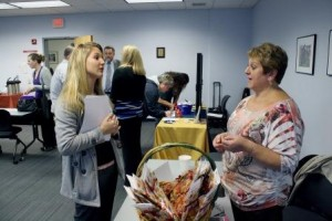 OTA student Renee Hines, left, talks with Lorain Knapp, a recruiter for Indiana Total Therapy in Homer City, PA during the OTA Job Fair. (Provided photo)