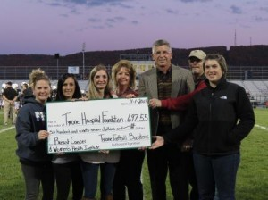 Pictured are officers of the Tyrone Football Boosters as they present their donation to the Tyrone Hospital Foundation with funds to be directed to the Breast Cancer & Women's Health Institute of Central Pennsylvania. From left to right are Laura Crawford, treasurer, Danyel Barkman vice president, Noelle Hand, president and Brenda Bartos, secretary of the Tyrone Football Boosters; David Arbutina, M.D., medical director, Breast Cancer  & Women's Health Institute of Central Pennsylvania;  Randy Miles Sr., chairman, Tyrone Hospital Foundation; and Jennifer Charney, director of Innovation and Development at Tyrone Hospital. (Provided photo)