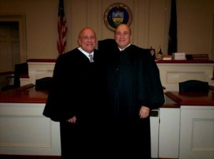 Judge Paul E. Cherry is shown here with his brother, Judge John Cherry of Dauphin County. Judge John Cherry swore him in for his second term. (Photo by Julie Rae Rickard)