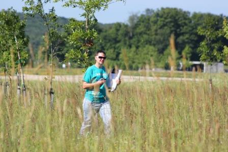 Penn State DuBois Wildlife Technology student Mandy Marconi conducting field work on the Flight 93 Memorial site last summer.  (Provided photo)