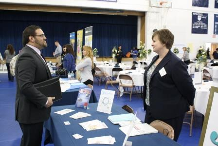 Ready to graduate in May, Jeremy Shoffstall of Brookville speaks with Anne Ziegler, representative of Goodwill Industries, about career opportunities during Wednesday's career fair. (Provided photo)