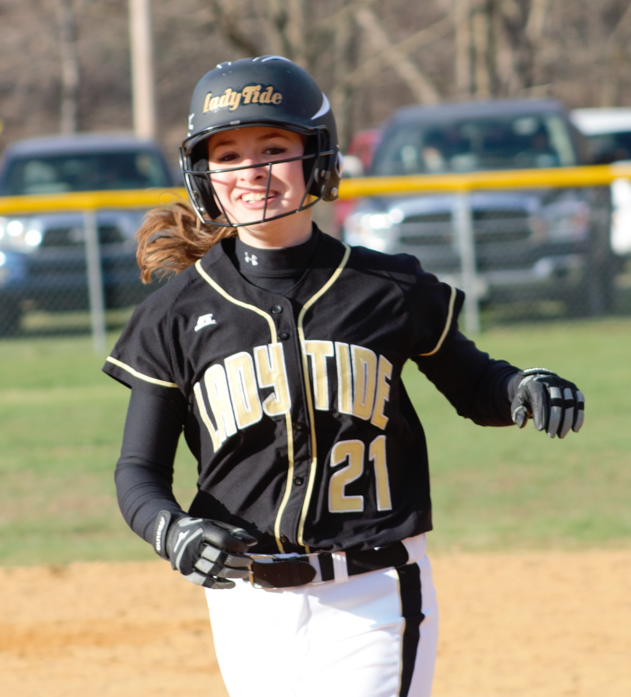 Curwensville sophomore Riley Young is all smiles after her game-winning RBI in the bottom of the seventh inning yesterday.  The Lady Tide defeated Johnsonburg 8-7.  Photo by Rusty McCracken