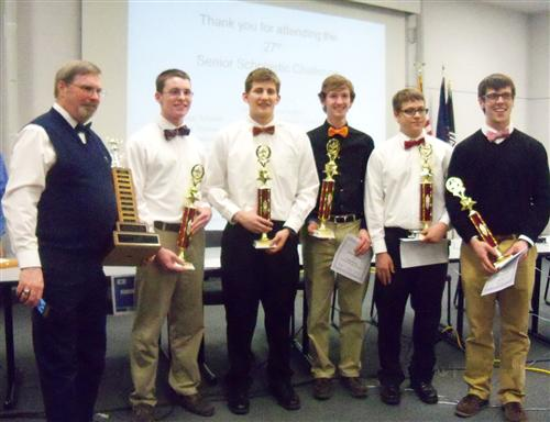 Shown are members of the DuBois Area High School Academic Challenge Team, which won the 27th annual DuBois Area Senior Scholastic Challenge title at Penn State DuBois on March 26. From left are coach Barry L. Gallagher, Jacob Skubisz, Josh Sanko, Aaron Lines, Jared Wolfe and Austin Songer. (Provided photo)