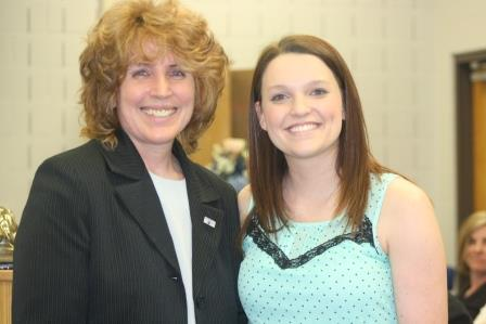 Chancellor Melanie Hatch, left, presented Jordan Eisman with the Walker Award at Delta Mu Sigma Honors Convocation.  (Provided photo)