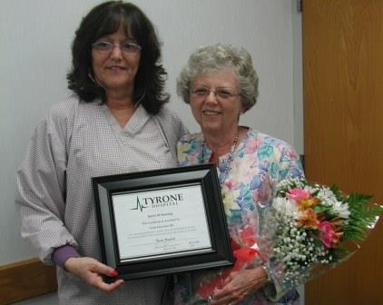 Pictured, from left to right, is Linda Irvin, RN, patient care manager of the Tyrone Hospital Emergency Department with Linda Morrison, RN, recipient of Tyrone's Hospital's Spirit of Nursing Award for 2014. (Provided photo)