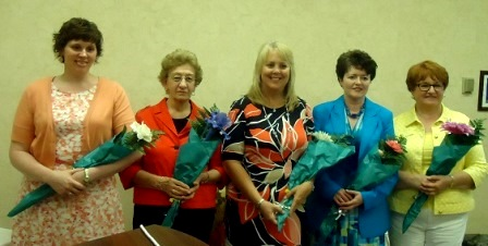 Pictured, from left, are new officers Missy Billotte, president; Peggy Rhone, CAP, vice president; Brenda Heschke, secretary; Shelly Luchini, treasurer; and Carol Lundgren, CAP-OM, immediate past president.  (Provided photo)