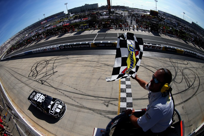 This has become a common scene at Dover, Jimmie Johnson taking the win.