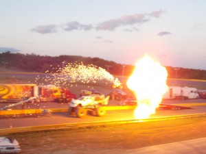 Doug Danger had a thrilling moment when he jumped over a monster truck, complete with pyrotechnics.
