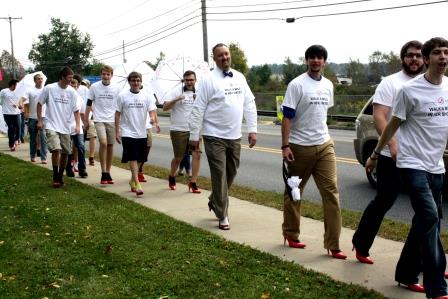 Campus Men Walk a Mile in Her Shoes