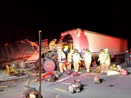 Two Tractor-Trailers Crash on I-80