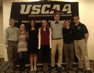 Pictured at the USCAA National Championships, left to right, are Penn State DuBois athletic director Ken Nellis, runners Heidi Rodgers, Tamara Anthony, Juliann Boddorf, Charles Miller, and Matthew Burke, and Coach Kyle Gordon. (Provided photo)