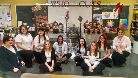 Adult Cosmetology Students Design Storefront Window