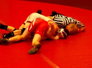 Logan Gilbert picked up his first pin of the year in the Bison win over Punxsutawney (Photo by Jessica Shirey)