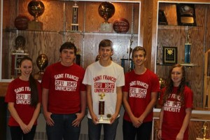 Pictured, from left, are Payton McAnnich, Noah Orner, Eli Kirk, Braden Royer and Kayla Brennan. The team was coached by DuBois teacher Douglas Brennan and Mike Mancuso. (Provided photo)