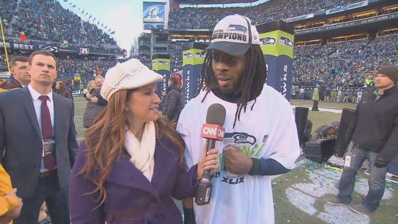 On the field with Richard Sherman