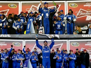 Dale Earnhardt Jr. and Jimmie Johnson won their respective Duel races, giving Hendrick Motorsports a sweep of the first three spots in the Daytona 500.