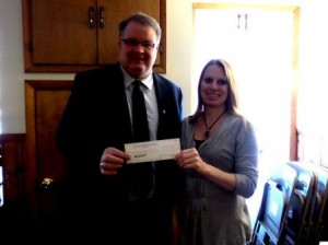 Pictured from left to right are Kevin Wain, Northwest Savings Bank's Clearfield Office manager and Stacy LoCastro, executive director of the CPCA. (Provided photo)