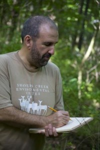 Robert Loeb, associate professor of biology and forestry, conducts field work during a forest study at Radnor Lake in Tennessee.  (Provided photo)