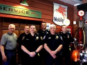 In the front from left are Chief Ron LaRotonda, DuBois City police, and Chief Donald Routch, Sandy Township police. In the back are Glenn Steingrabe, PA Motorcycle Safety Program instructor, and Cpl. Orlando Prosper, Sgt. Dustin Roy and Officer Michael Davidson, all of DuBois City police. (Provided photo)