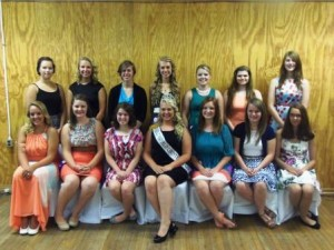 In front row are contestants Haylee Stuckey; Abby Jamison and Rachel Duke; Fair Queen Chelsea Folmar; Christen Wisor; Gabrielle Schultz; and Lacy Matier. In the back row are contestants Lydia Opalisky; Lyndsey Good; Krysten Kowalczyk; Cassie Folmar; Emily Andrulonis; Reilly Brown; and Allison Carns. Missing from photo is Kristina McCracken. (Photo by Jessica Shirey)