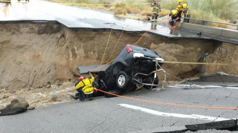 Floodwaters wash out, shut down part of I-10 in Southern California