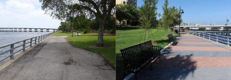 The Bradenton Riverwalk Before and After (Photos provided by RealizeBradenton.)