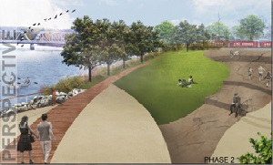 Perspective of Clearfield's Riverfront Park (Provided by Clearly Ahead Development)