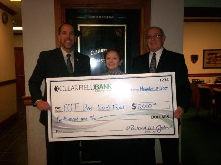 CCCF Basic Needs Fund Receives Donation from Clearfield Bank & Trust