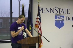 Penn State DuBois Veterans Club Vice President Anthony Halm thanked fellow veterans for their service during Veterans Day ceremonies in the student union Wednesday. (Provided photo)