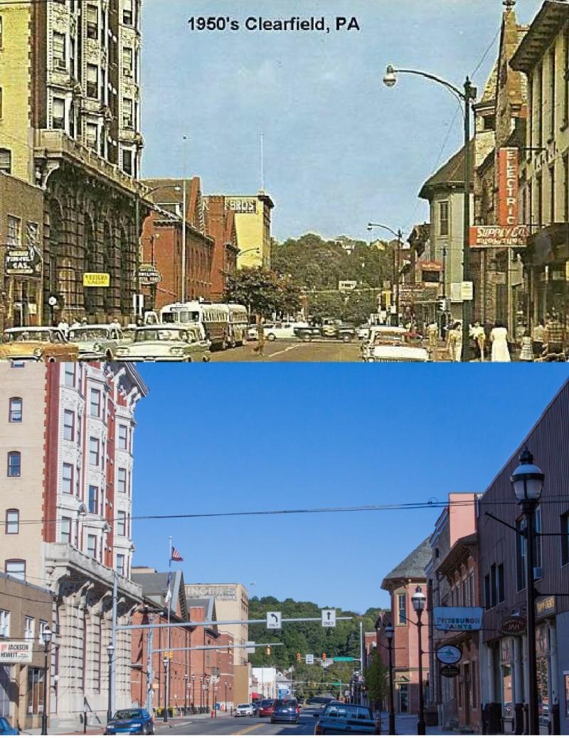 Then & Now:  Market Street in Clearfield