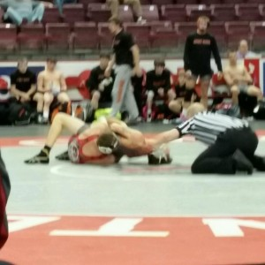 Tallin Norris picked up a big fall for the Bison at 145 pounds (photo by Bear Norris)