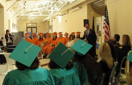State Sen. President Pro Tempore Joe Scarnati addresses Medical Assistant and Pharmacy Technician graduates at Brockway Center for Arts and Technology Wednesday. (Provided photo)