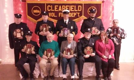 Pictured are the award winners who were recognized at the annual fire department banquet.  In front from left are Brandon Barnett, George Waring, John R. Williams, Brett Collins and Joan Williams.  In back are Bill Shugerts, Andrew Smith, Steve Flanagan, Louis Stubbs IV and Sam Toto. (Photo by Wendy Brion)
