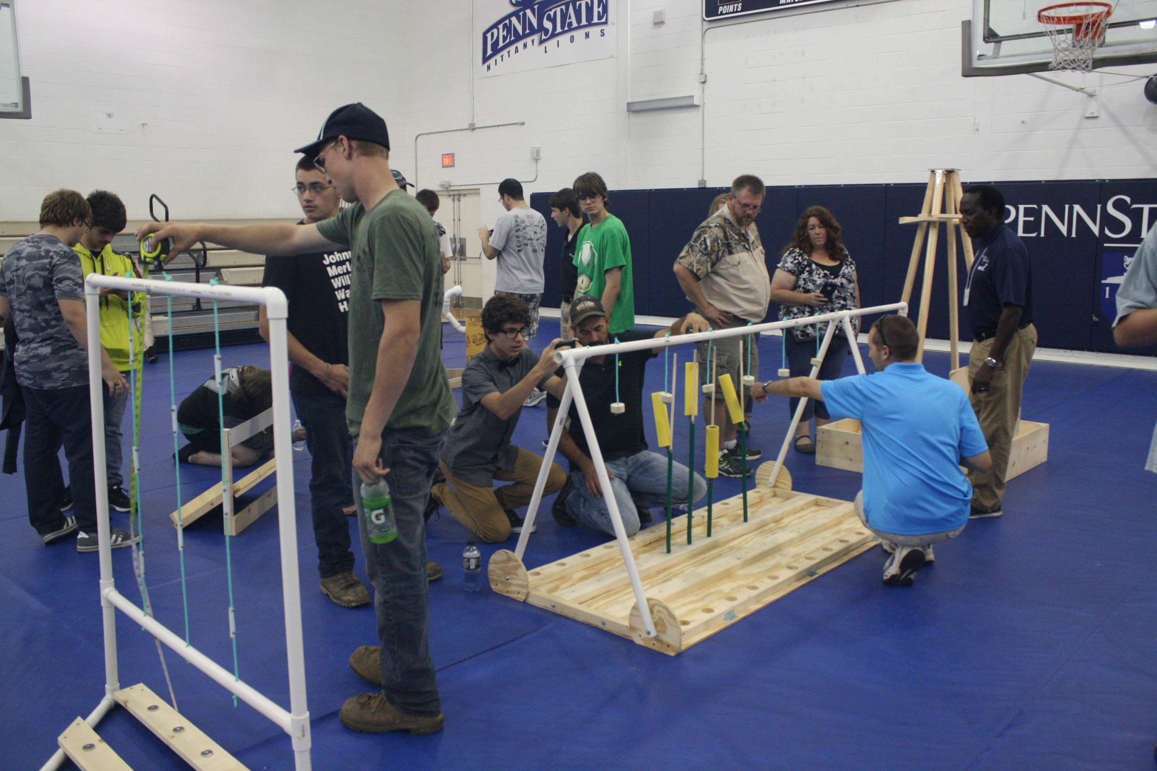 Students had the opportunity to examine part of the course they'll operate their robots through during the BEST Kick-off event in the campus gymnasium. (Provided photo)