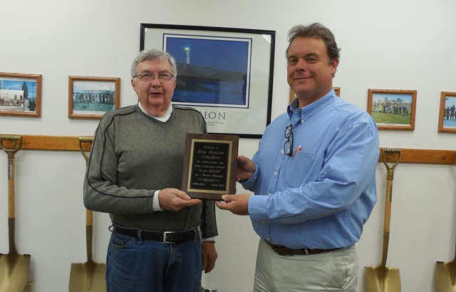 One MVEDP board members, Rick Kistler, is leaving the board.  Kistler (on the left) is shown receiving a commemorative plaque from Rusty Christoff, president of the MVEDP's board of directors (on the right).  Kistler served for 19 years on the board from 1995-2012 and 2014-2016. (Provided photo)