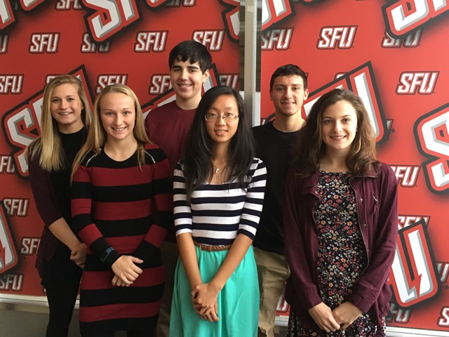 Shown in Row 1 are Madison Jones, Jiami Zhu and Jaclyn Freeman. In Row 2 are Brooke Cline, Michael Ternoway and Alex Coval. (Provided photo)