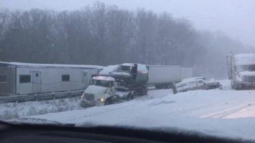 Huge Crash and Pileup Near Pennsylvania-Ohio Border