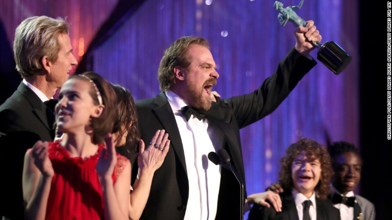 'Stranger Things' star's speech gets crowd on feet after show's surprise SAG Award win
