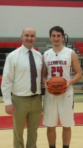 1000 point scorer Tommy Hazel and Bison Head Coach Nate Glunt (Photo by Dustin Parks)