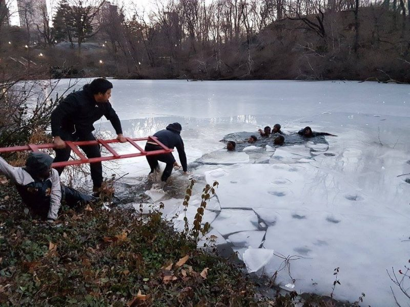 Models save teens who fell through ice while taking pictures on frozen pond
