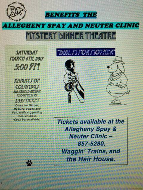 Mystery Dinner Benefit Being Held for the Allegheny Spay & Neuter Clinic