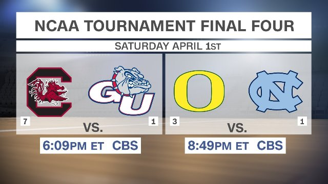 Oregon, UNC, South Carolina, Gonzaga fill out Final 4