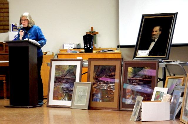 Fyda Explains Gift of Art at Historical Society Luncheon