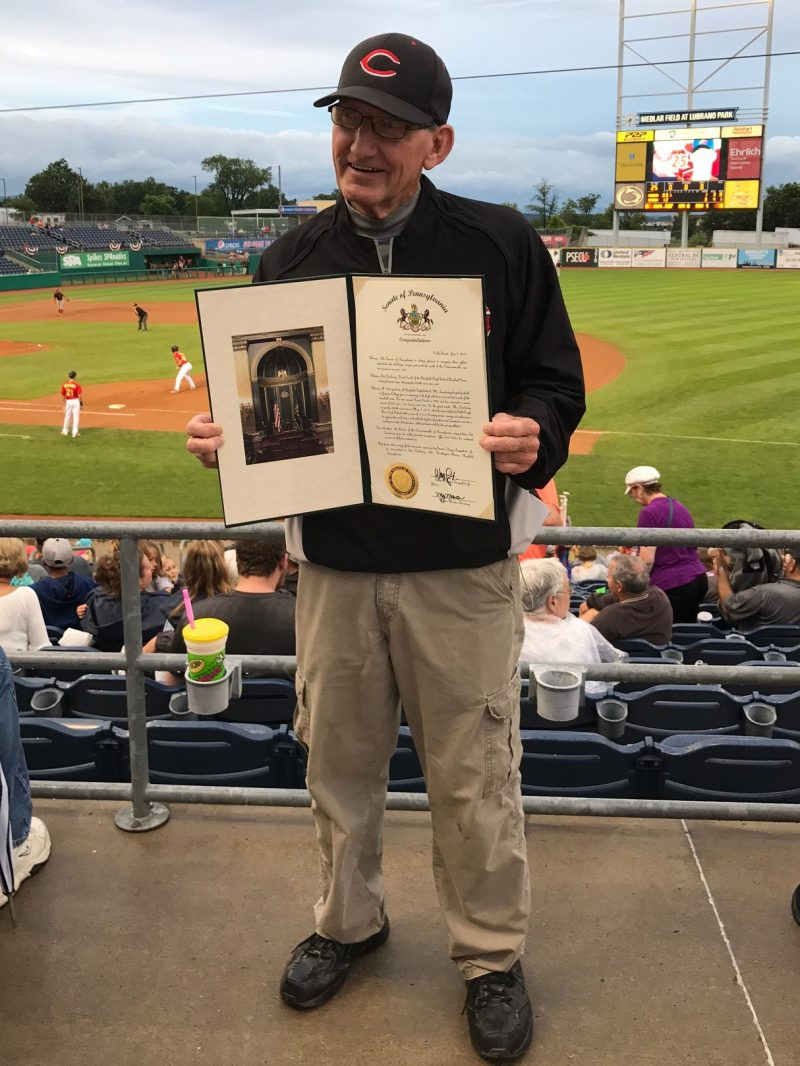 Coach Lansberry Honored on Clearfield County Night at Spikes Game